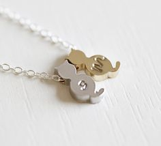 2 Cat Initial Necklace Two Cat Monogram Necklace 2 by froshjewels, $18.00