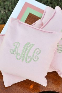 Monogrammed corn hole bags! This made me think of you @Sarah Chintomby Ward hahaha