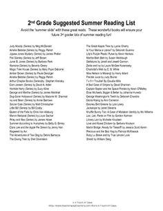 2nd Grade Summer Reading List