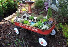Fairy Garden in a radio flyer---great idea for kids