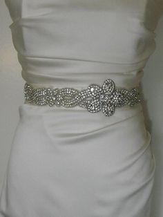 Rhinestone beaded sash Ivory Satin Sash Belt Bridal by yanethandco