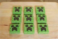 Minecraft Creeper Rice Krispie Treats