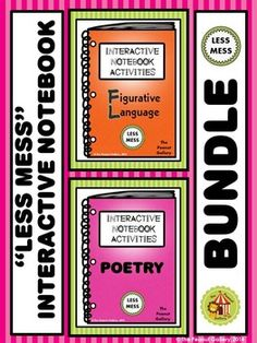This 147 page BUNDLE involves tons of activities (with LESS MESS) to add some creativity and color to your figurative language & poetry interactive notebooks. Seven types of figurative language and twelve types of poetry are included. ($)