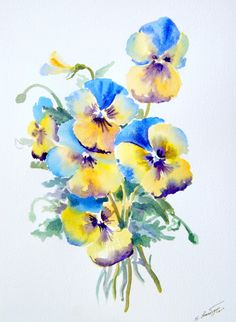 watercolor pansies - I really like this one for a tattoo