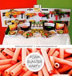 NERF Gun Inspired Foam Blaster Printable Birthday Party Dessert Table Decor @Mary Powers Rankin
