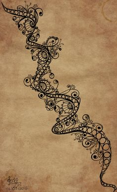 Doodling Path by ~gisellemendes on deviantART, so cute. How pretty would this be going down someone's back as a tattoo.