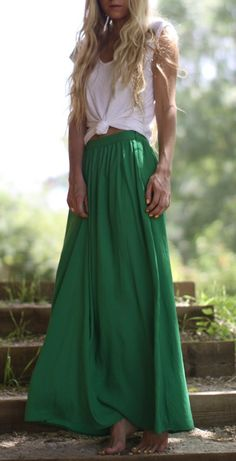 i love green its such an earthy color makes you look natriouse and just stands out espically when its a long skirt like this with a tucked it white tshir