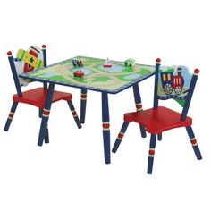 The Levels of Discovery Getting Around Table and 2 Chair Set gives your child a great place to draw or play games with a friend and the tabletop design provides its own entertainment. Hand painted with a cityscape roads and waterways the tabletop and included four wooden vehicles provide hours of hands-on fun. Boasting bright primary colors and sturdy wood construction this set includes two chairs with transportation-them