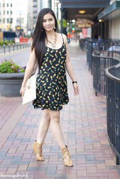 Summer Night-Out in Deb Shops Part 1: Pineapple Slip Dress