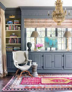 chair, rug, cabinet colors, offic, librari, paint colors, dutch colonial, grey paint, traditional homes