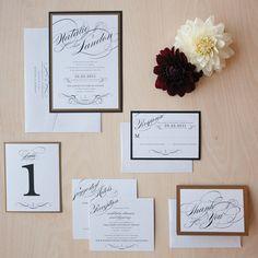 Vintage Glam Wedding Invitation winter wedding by JenSimpsonDesign