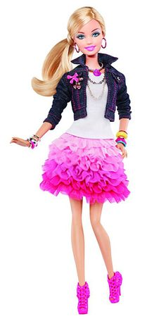 2012 Barbie  Always pretty in pink, Barbie's latest look includes a denim jacket, a ruffled skirt and stacks of bangles