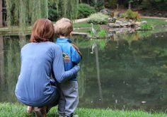 The EJC Arboretum at JMU, offering teaching moments about all things natural to young and old alike. Lynn Whitmore captures visitors watching a Great Blue Heron feeding at the pond.