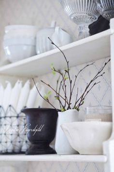 January: need for simplicity, white decoration and birch branches. This photo is from my kitchen just now.