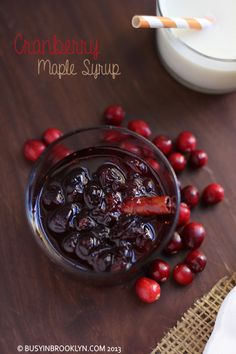 Delicious cranberry maple syrup (perfect over my pumpkin ricotta pancakes). Great for Thanksgivukkah, Chanukah, or Thanksgiving!