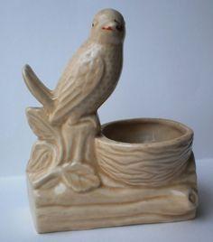 Vintage Ceramic Bird Planter Mid Century Farmhouse Kitchen Bowl, Figural Pottery Wren Sparrow Figurine on a Branch with Bird nest Retro 40s 50s Kitsch