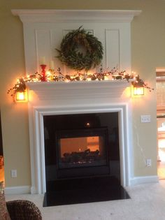 Fire place and mantel..