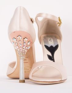 "Prada ""Donna"" Ankle Strap Open Toe Pale Pink Satin Sandals featuring a jeweled heel"