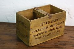 VINTAGE WOODEN FISH CRATE TRUG BOX INDUSTRIAL PLANTER S45 OYSTERS WHITSTABLE   eBay