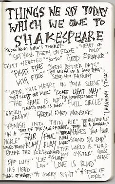 Things we say today that are attributed to Shakespeare. I love this.