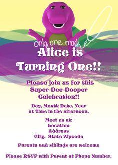 Barney Birthday Invitation Set by OnlyOneMarkINC on Etsy, $30.00