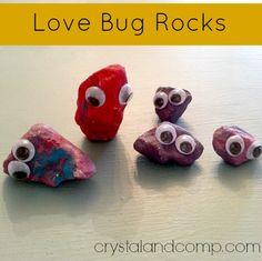 summer activity for kids: love bug rocks