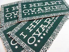 heart ovari, ovarian cancer, stickers, cancer awareness