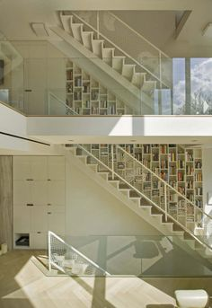 'bookshelves lining the stairway' I don't have a stairway but I want this.