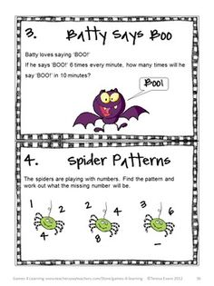 Halloween Math Brain Teasers to really make them think! From Halloween Math Games, Puzzles and Brain Teasers by Games 4 Learning. $