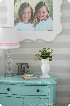 Girl-Bedroom-Decorating-Ideas-2013-home-trends #bluefurniture #distressedfurniture #girlybedroomideas #ceramicanimaldecor #stripedwalls #floralarrangements