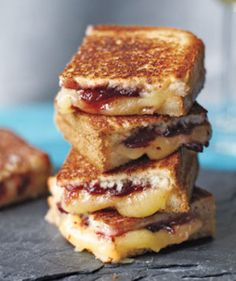 Brie & raspberry jam grilled cheese. Rustic for brunch.