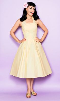 SALE! Unique Vintage Flirty Yellow Cotton Halter 1950s Style Swing Dress - Unique Vintage - Prom dresses, retro dresses, retro swimsuits.