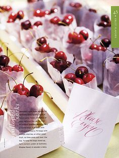 Cherry favors for summer wedding