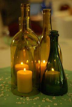 Wine Bottle Hurricane Lantern Centerpieces (Dark)