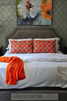 Gorgeous gray and orange master bedroom makeover :: OrganizingMadeFun.com