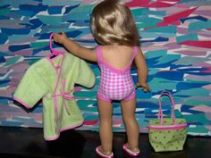 Swimwear for AG dolls -- includes link for free Liberty Jane one-piece suit, link to video tutorial for making shoes, variations, info on making beach bag for dolls