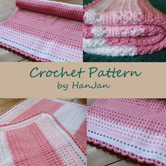 Instant Download PDF Crochet Pattern: Phoebe's Pink and White Cross Over Baby Blanket, US instructions with HanJan crochet tutorial