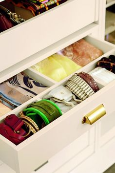 Organize your belts by keeping them rolling up and in a drawer