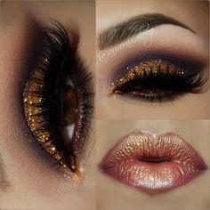 #makeup #beauty #gold #lips #eyeshadow
