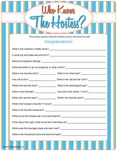 """Who Knows The Hostess?"" Questions and Answers for fun, laughable ice-breaker at any home party."