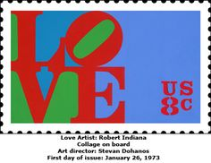 US postage stamp by Robert Indiana