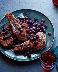 Grilled Pork Chops with Concord Grapes Recipe on Food & Wine