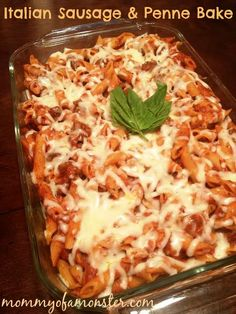 The whole family with love this warm cheesy ItalianSausageandPenneBake made with Italian sausage, sure to be a hit with the kids!