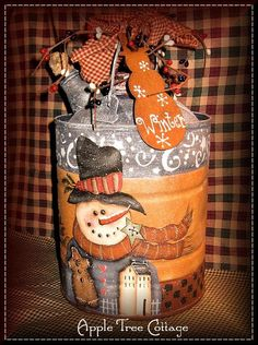 Another pinner says:  another hand painted kerosene can...gosh I love snowmen!
