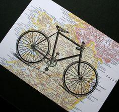 Bicycle ride across Ireland; bike print on vintage-style map, by CrowBiz