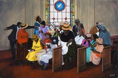 Camp Meeting Gullah Art, African American Art by John Jones at Gallery Chuma, Charleston, SC
