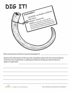 Worksheets: Fossil Worksheet for Kids | Dig It! #1