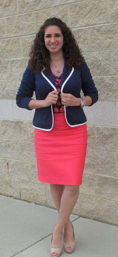 Navy Blazer, Sailboat blouse, & Coral Pencil Skirt Coral Pencil, Blous, Navi Blazer, Pencil Skirts, Sailboat