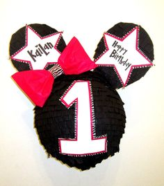 Custom Minnie Mouse Zebra Trim Pinata with Small Bow by PinataMama, $60.00