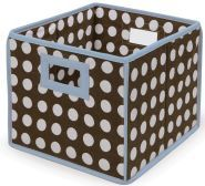 Brown Polka Dot with Blue Trim Folding Baskets (Pack of 3) | Overstock.com